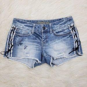 Express Jean's Raw Hem Side Lace Up Jean Shorts